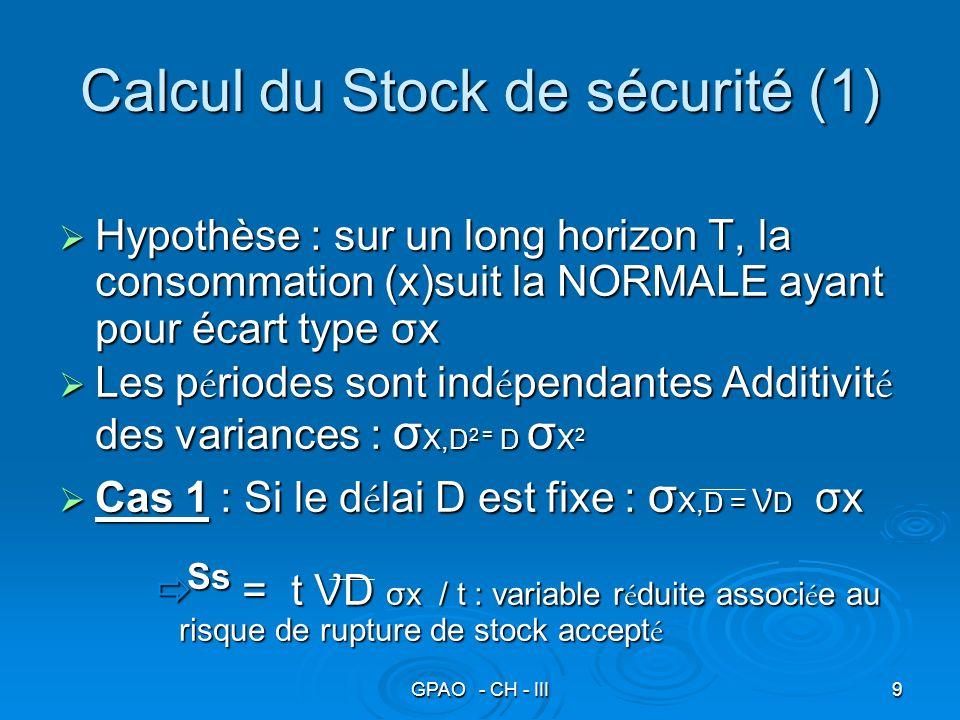 GPAO - CH - III10 Stock de sécurité (2) Cas 2 : Consommation fixe Cas 2 : Consommation fixe Écart type du délai : σ D en nombre de jourÉcart type du délai : σ D en nombre de jour On effectue un changement de variables :On effectue un changement de variables : σ D(cons) = (cons/j ) σ D σ D(cons) = (cons/j ) σ D Ss = t (cons/j ) σ D / t : variable r é duite associ é e au risque de rupture de stock accept é Ss = t (cons/j ) σ D / t : variable r é duite associ é e au risque de rupture de stock accept é