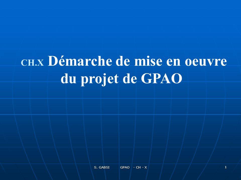 S. GABSI GPAO - CH - X 1 CH.X Démarche de mise en oeuvre du projet de GPAO