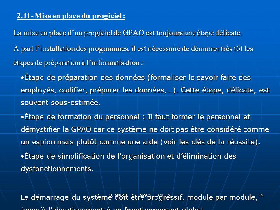 S.GABSI GPAO - CH - X 12 La mise en place dun progiciel de GPAO est toujours une étape délicate.