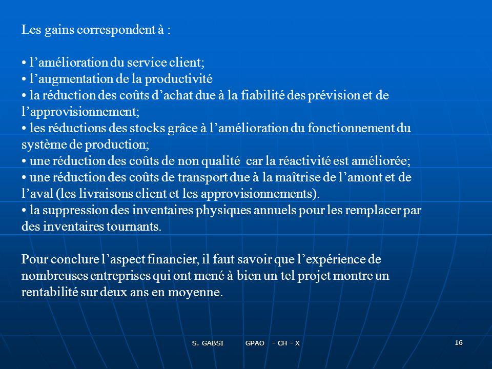 S. GABSI GPAO - CH - X 16 Les gains correspondent à : lamélioration du service client; laugmentation de la productivité la réduction des coûts dachat