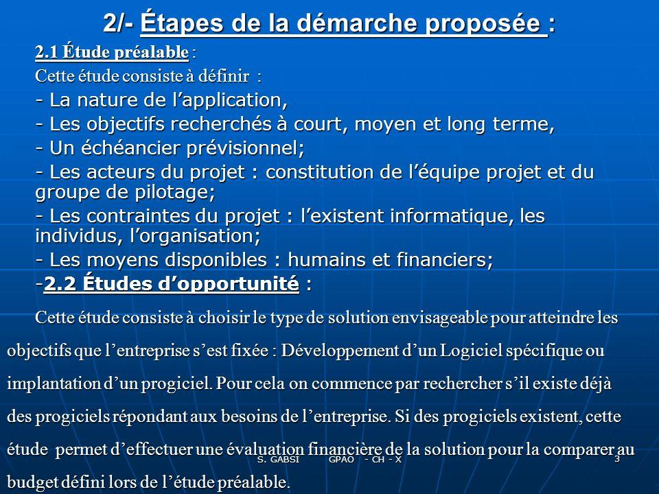 S. GABSI GPAO - CH - X 3 2/- Étapes de la démarche proposée : 2.1 Étude préalable : Cette étude consiste à définir : Cette étude consiste à définir :