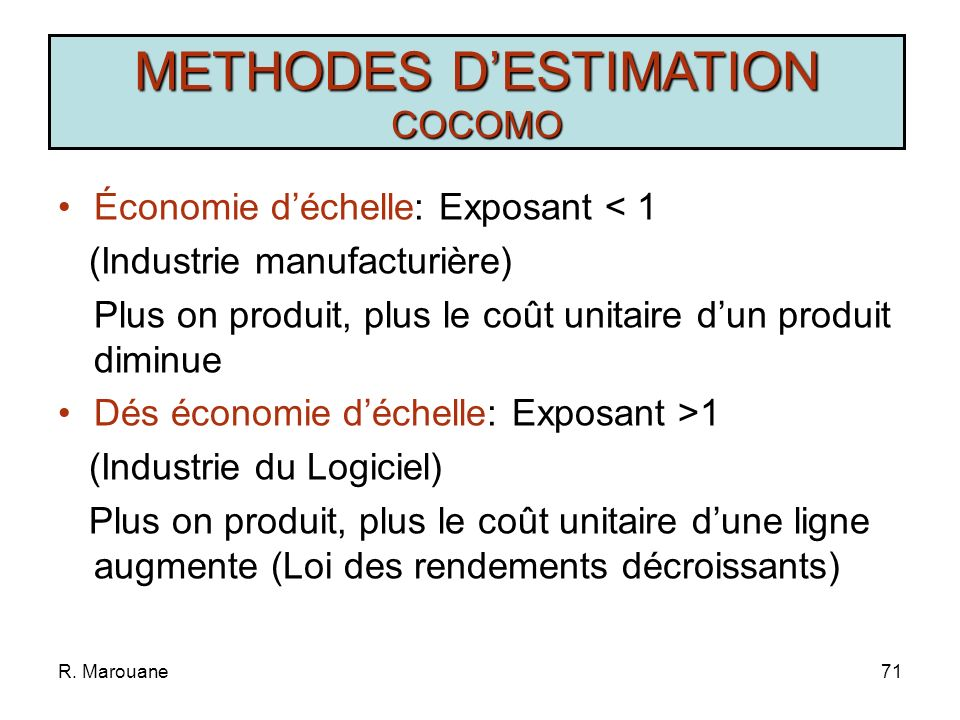 R. Marouane70 METHODES DESTIMATION COCOMO Type de Projet Charge en MP Délai en M SimpleCharge=2,4(KISL) 1,05 D=2,5(Charge) 0,38 MoyenCharge=3(KISL) 1,