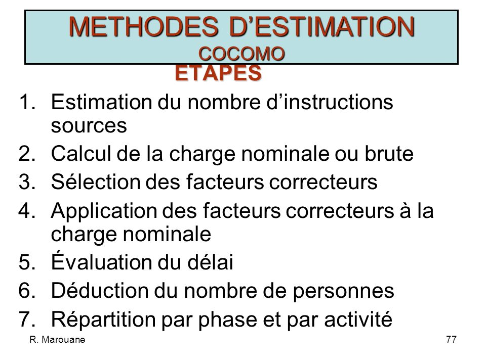 R. Marouane76 METHODES DESTIMATION COCOMO Type de Projet Charge en MP Nominale Délai en M SimpleCharge N =3,2(KISL) 1,05 D=2,5(Charge D ) 0,38 MoyenCh