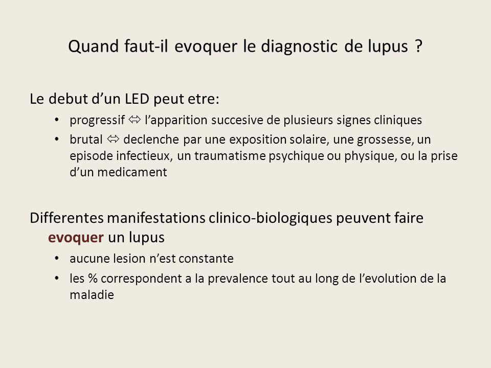 Quand faut-il evoquer le diagnostic de lupus ? Le debut dun LED peut etre: progressif lapparition succesive de plusieurs signes cliniques brutal decle
