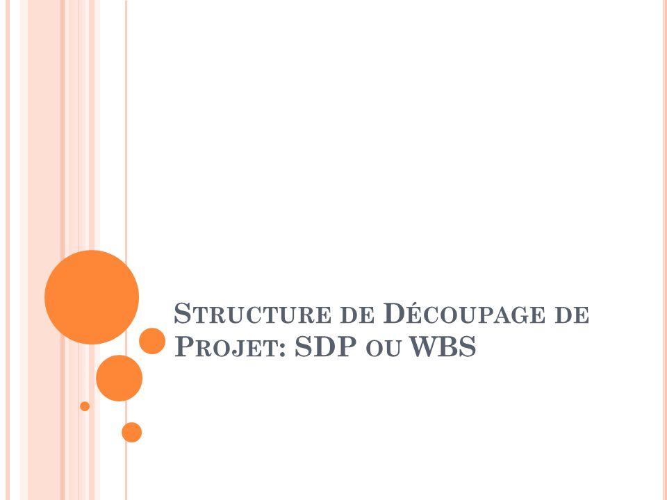 S TRUCTURE DE D ÉCOUPAGE DE P ROJET : SDP OU WBS