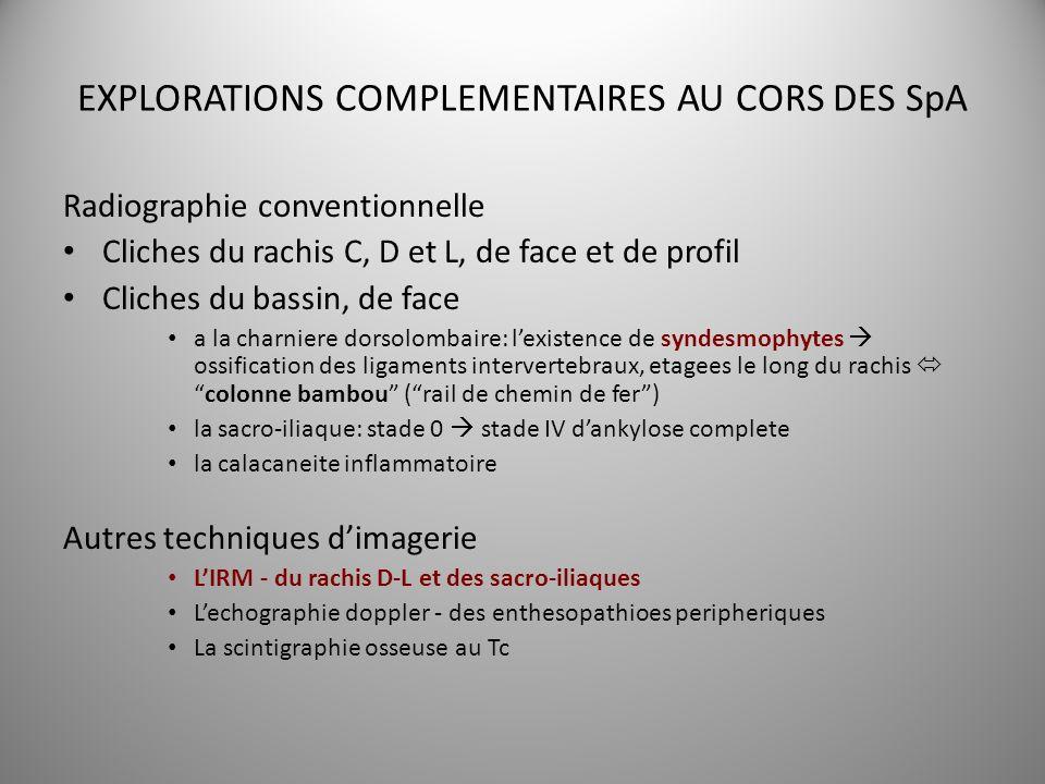 EXPLORATIONS COMPLEMENTAIRES AU CORS DES SpA Radiographie conventionnelle Cliches du rachis C, D et L, de face et de profil Cliches du bassin, de face