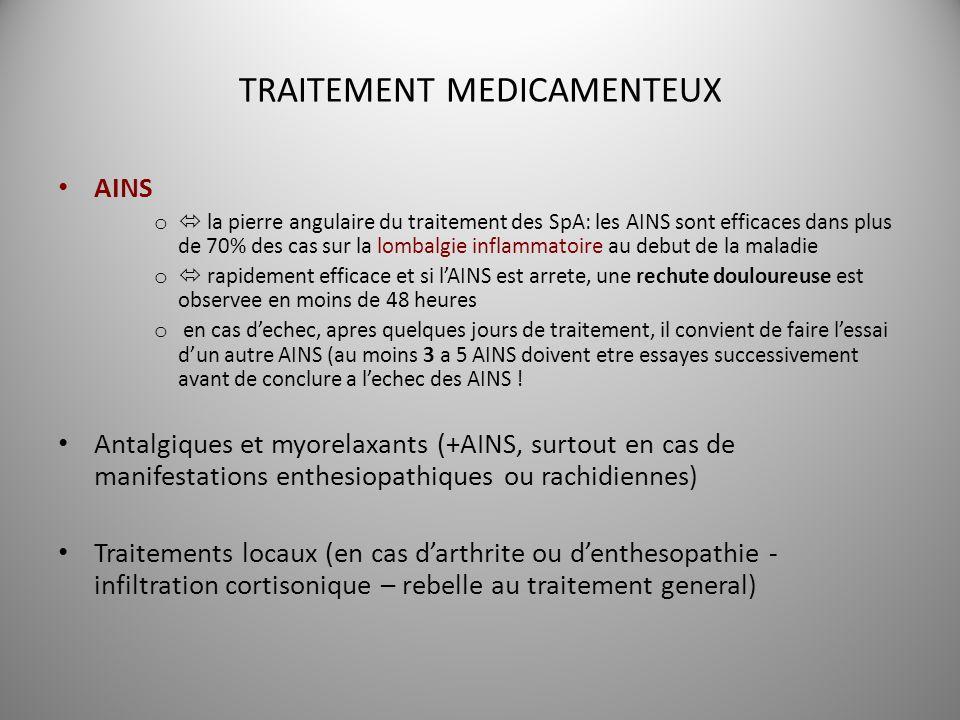 TRAITEMENT MEDICAMENTEUX AINS o la pierre angulaire du traitement des SpA: les AINS sont efficaces dans plus de 70% des cas sur la lombalgie inflammat
