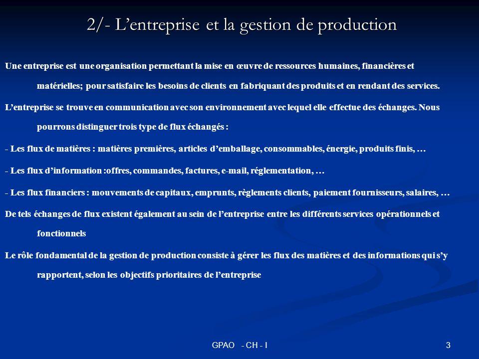 4GPAO - CH - I 3/- Les objectifs de la gestion de production Lévolution de la compétitivité de lentreprise : Depuis les années 1950 à aujourd hui; on distingue trois phases dans lévolution de la compétitivité de lentreprise : Lévolution de la compétitivité de lentreprise : Depuis les années 1950 à aujourd hui; on distingue trois phases dans lévolution de la compétitivité de lentreprise : 1.