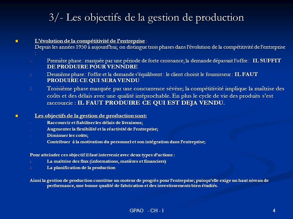 5GPAO - CH - I 4/- Place de la gestion de la production dans lentreprise La gestion de production est une fonction transversale qui est en relation avec la plupart des autres fonctions de lentreprise; elle doit être parfaitement intégrée dans le système dinformation de lentreprise (voir figure suivante).