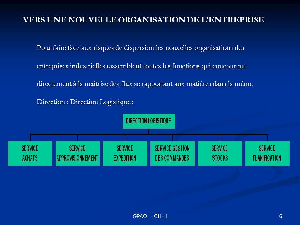 6GPAO - CH - I Pour faire face aux risques de dispersion les nouvelles organisations des entreprises industrielles rassemblent toutes les fonctions qu