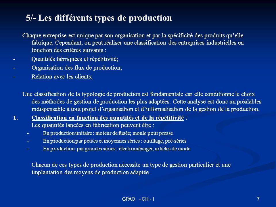 7GPAO - CH - I 5/- Les différents types de production Chaque entreprise est unique par son organisation et par la spécificité des produits quelle fabr