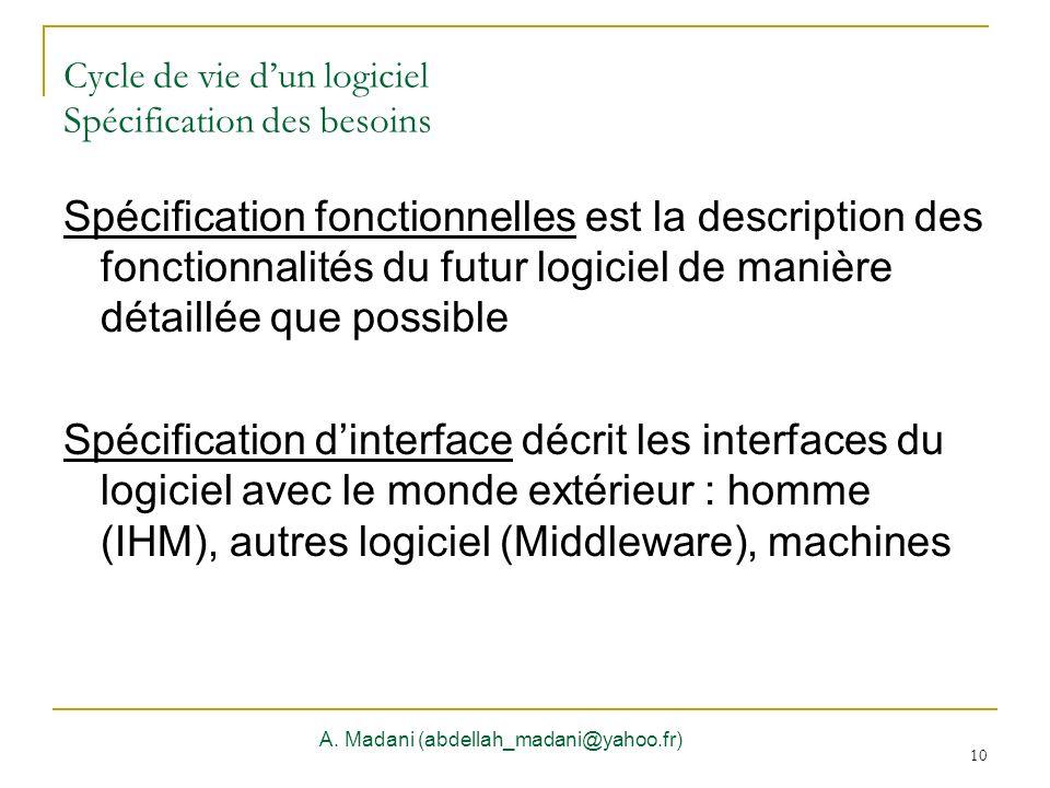 10 Cycle de vie dun logiciel Spécification des besoins A. Madani (abdellah_madani@yahoo.fr) 10 Spécification fonctionnelles est la description des fon