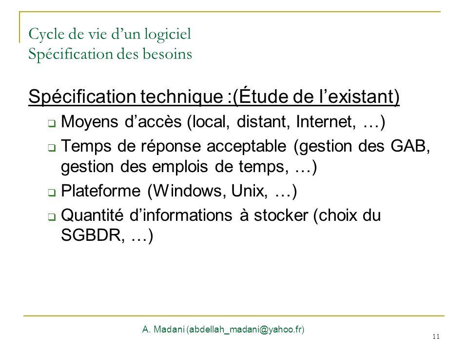 11 Cycle de vie dun logiciel Spécification des besoins A. Madani (abdellah_madani@yahoo.fr) 11 Spécification technique :(Étude de lexistant) Moyens da