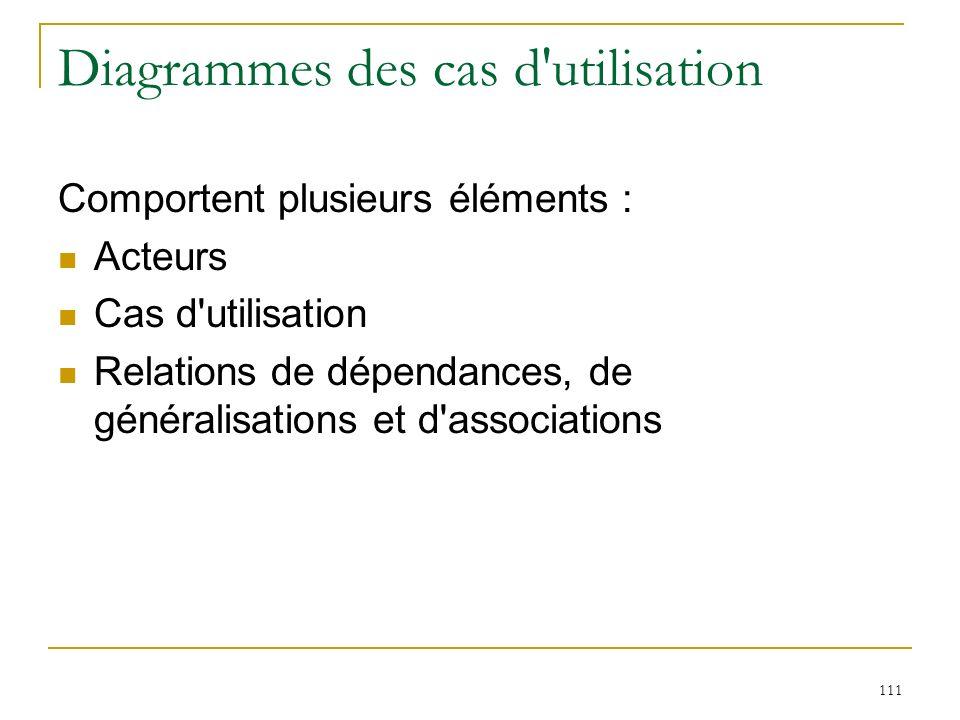 111 Diagrammes des cas d'utilisation Comportent plusieurs éléments : Acteurs Cas d'utilisation Relations de dépendances, de généralisations et d'assoc