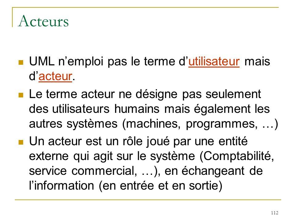 112 Acteurs UML nemploi pas le terme dutilisateur mais dacteur. Le terme acteur ne désigne pas seulement des utilisateurs humains mais également les a
