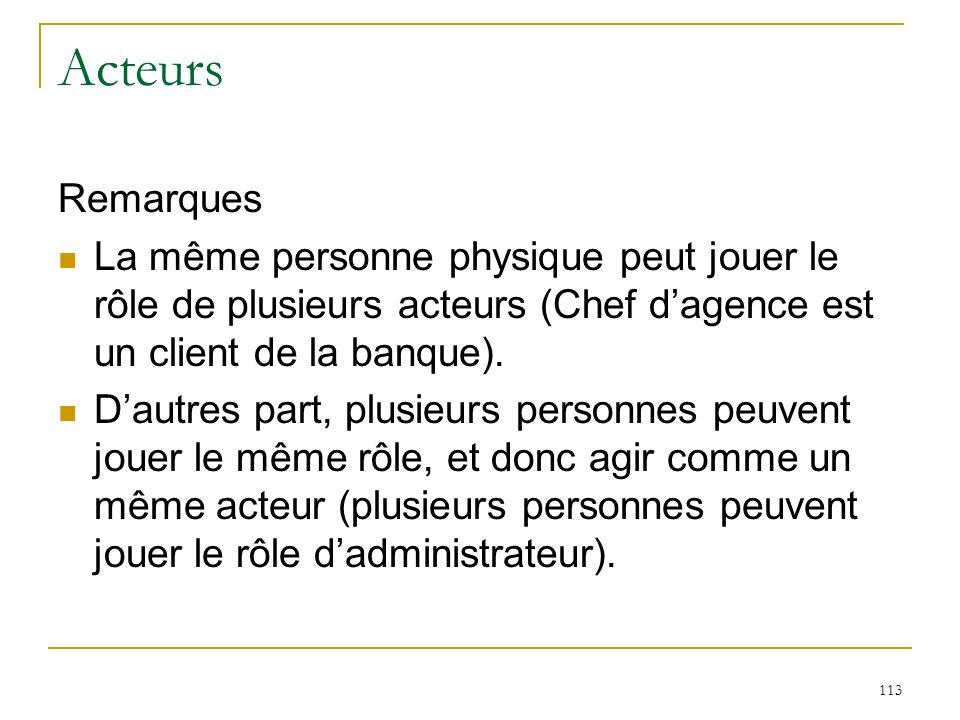 113 Acteurs Remarques La même personne physique peut jouer le rôle de plusieurs acteurs (Chef dagence est un client de la banque). Dautres part, plusi