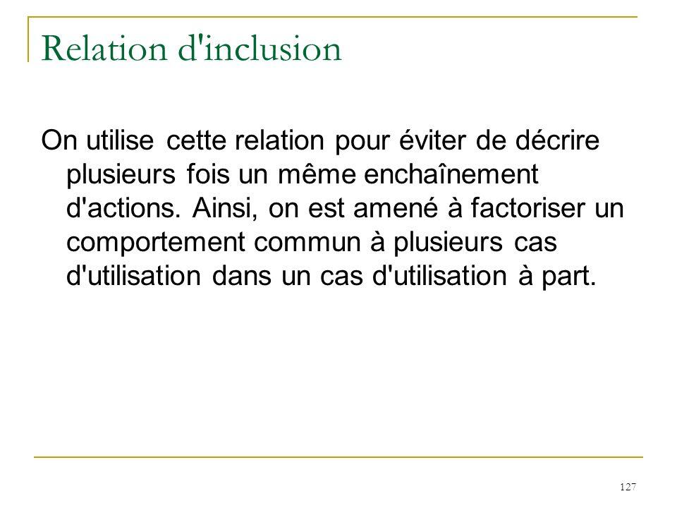 127 Relation d'inclusion On utilise cette relation pour éviter de décrire plusieurs fois un même enchaînement d'actions. Ainsi, on est amené à factori