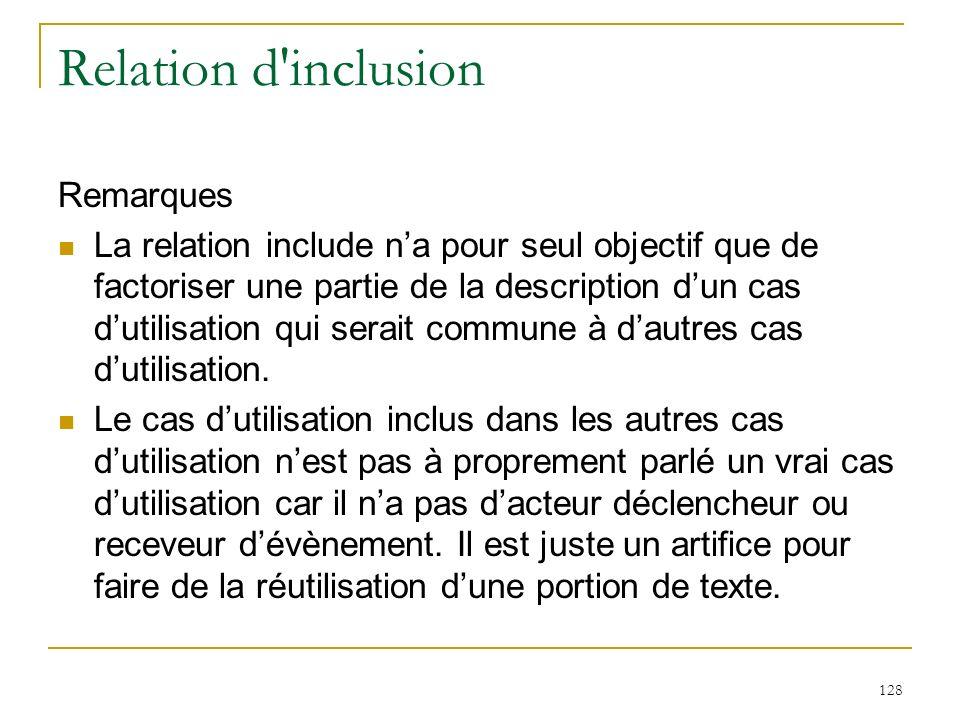 128 Relation d'inclusion Remarques La relation include na pour seul objectif que de factoriser une partie de la description dun cas dutilisation qui s