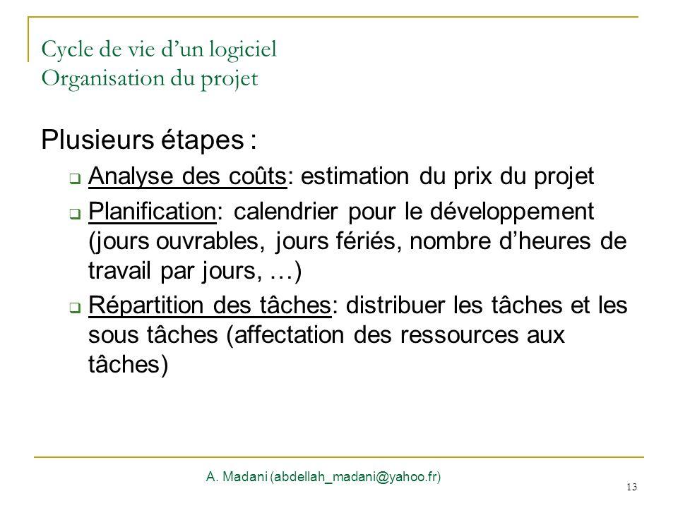 13 Cycle de vie dun logiciel Organisation du projet A. Madani (abdellah_madani@yahoo.fr) 13 Plusieurs étapes : Analyse des coûts: estimation du prix d