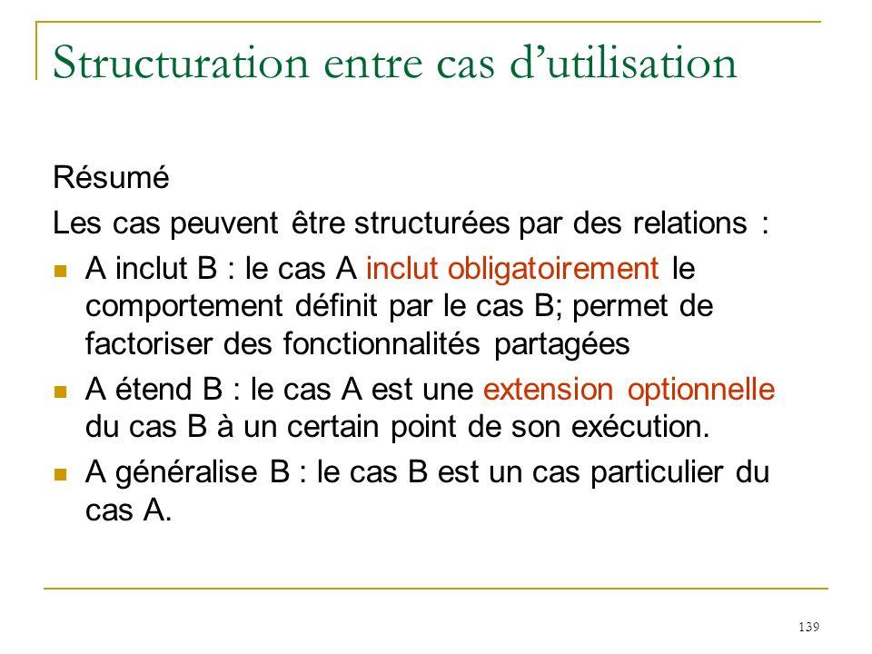 139 Structuration entre cas dutilisation Résumé Les cas peuvent être structurées par des relations : A inclut B : le cas A inclut obligatoirement le c
