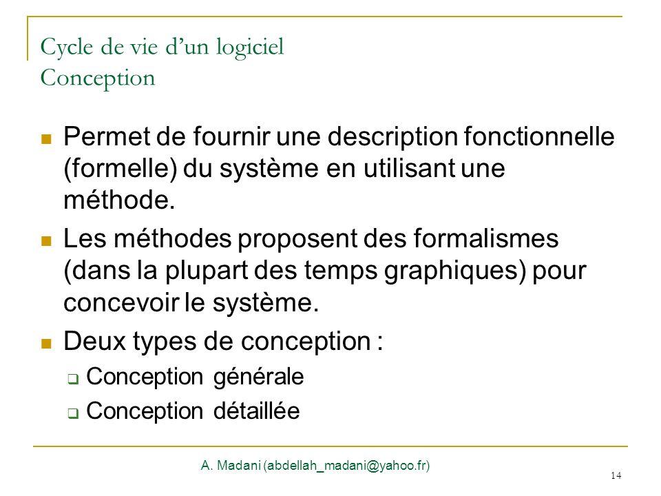 14 Cycle de vie dun logiciel Conception Permet de fournir une description fonctionnelle (formelle) du système en utilisant une méthode. Les méthodes p