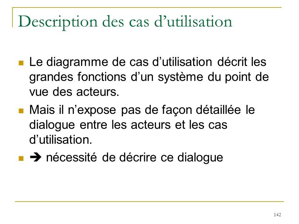 142 Description des cas dutilisation Le diagramme de cas dutilisation décrit les grandes fonctions dun système du point de vue des acteurs. Mais il ne