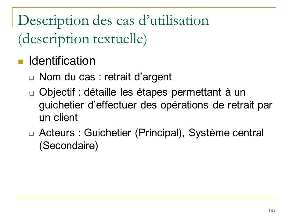 144 Description des cas dutilisation (description textuelle) Identification Nom du cas : retrait dargent Objectif : détaille les étapes permettant à u