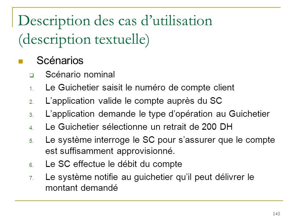 145 Description des cas dutilisation (description textuelle) Scénarios Scénario nominal 1. Le Guichetier saisit le numéro de compte client 2. Lapplica