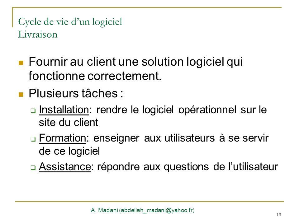 19 Cycle de vie dun logiciel Livraison A. Madani (abdellah_madani@yahoo.fr) 19 Fournir au client une solution logiciel qui fonctionne correctement. Pl