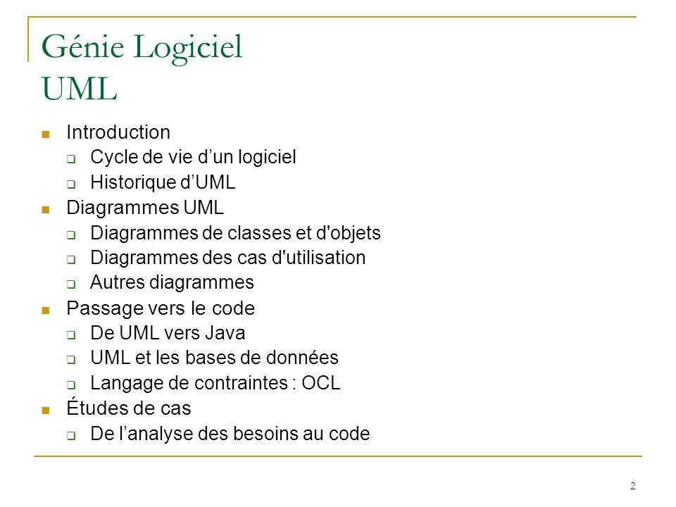 2 Génie Logiciel UML Introduction Cycle de vie dun logiciel Historique dUML Diagrammes UML Diagrammes de classes et d'objets Diagrammes des cas d'util