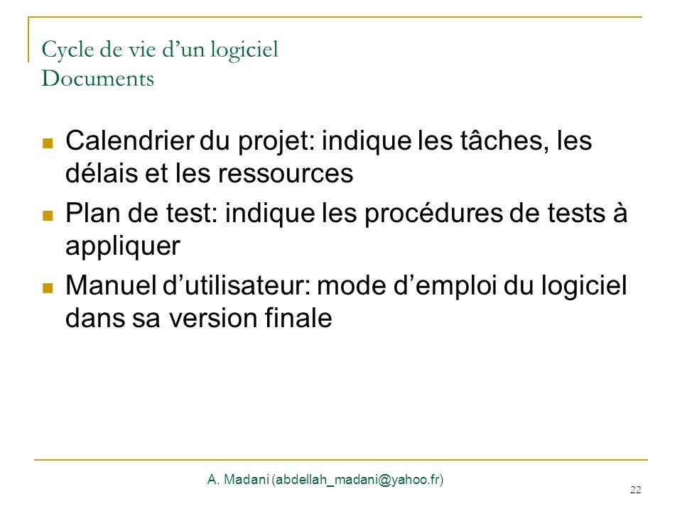 22 Cycle de vie dun logiciel Documents A. Madani (abdellah_madani@yahoo.fr) 22 Calendrier du projet: indique les tâches, les délais et les ressources