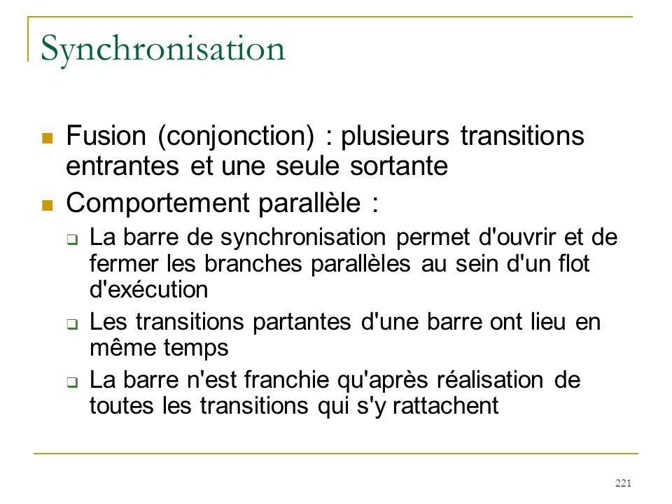 221 Synchronisation Fusion (conjonction) : plusieurs transitions entrantes et une seule sortante Comportement parallèle : La barre de synchronisation