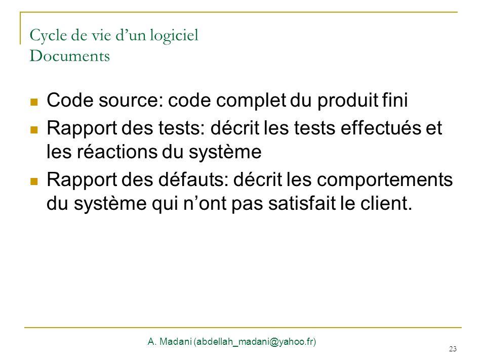 23 Cycle de vie dun logiciel Documents A. Madani (abdellah_madani@yahoo.fr) 23 Code source: code complet du produit fini Rapport des tests: décrit les