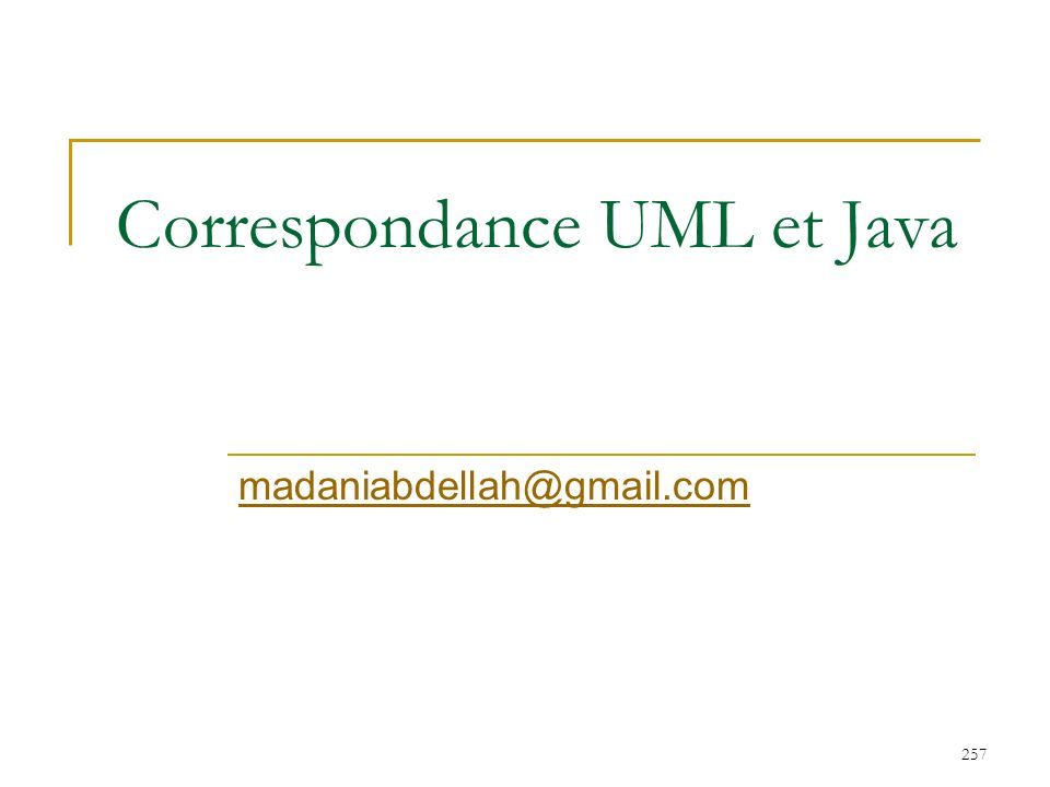 257 Correspondance UML et Java madaniabdellah@gmail.com