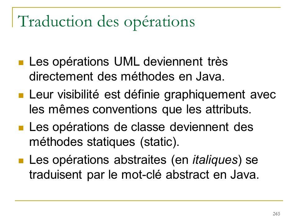 265 Traduction des opérations Les opérations UML deviennent très directement des méthodes en Java. Leur visibilité est définie graphiquement avec les