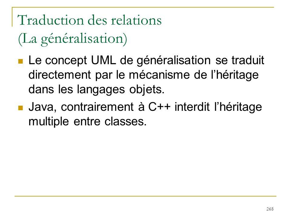 268 Traduction des relations (La généralisation) Le concept UML de généralisation se traduit directement par le mécanisme de lhéritage dans les langag