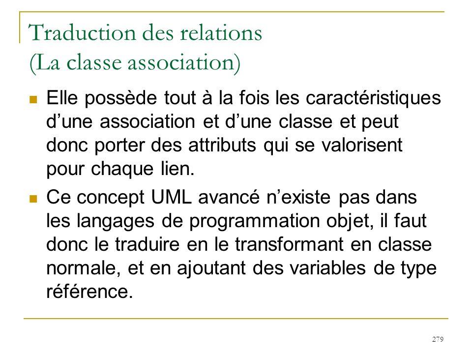 279 Traduction des relations (La classe association) Elle possède tout à la fois les caractéristiques dune association et dune classe et peut donc por