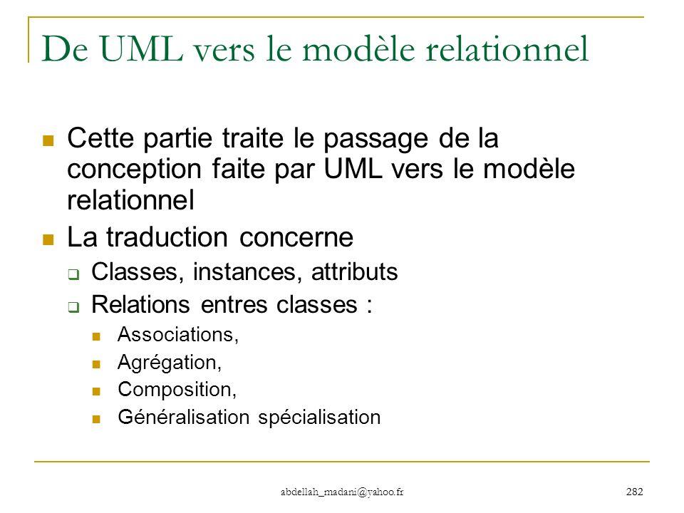282 abdellah_madani@yahoo.fr 282 De UML vers le modèle relationnel Cette partie traite le passage de la conception faite par UML vers le modèle relati