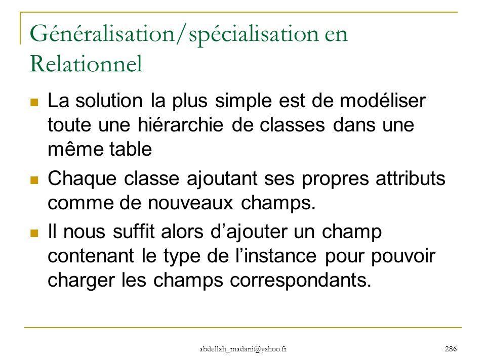 286 abdellah_madani@yahoo.fr 286 Généralisation/spécialisation en Relationnel La solution la plus simple est de modéliser toute une hiérarchie de clas