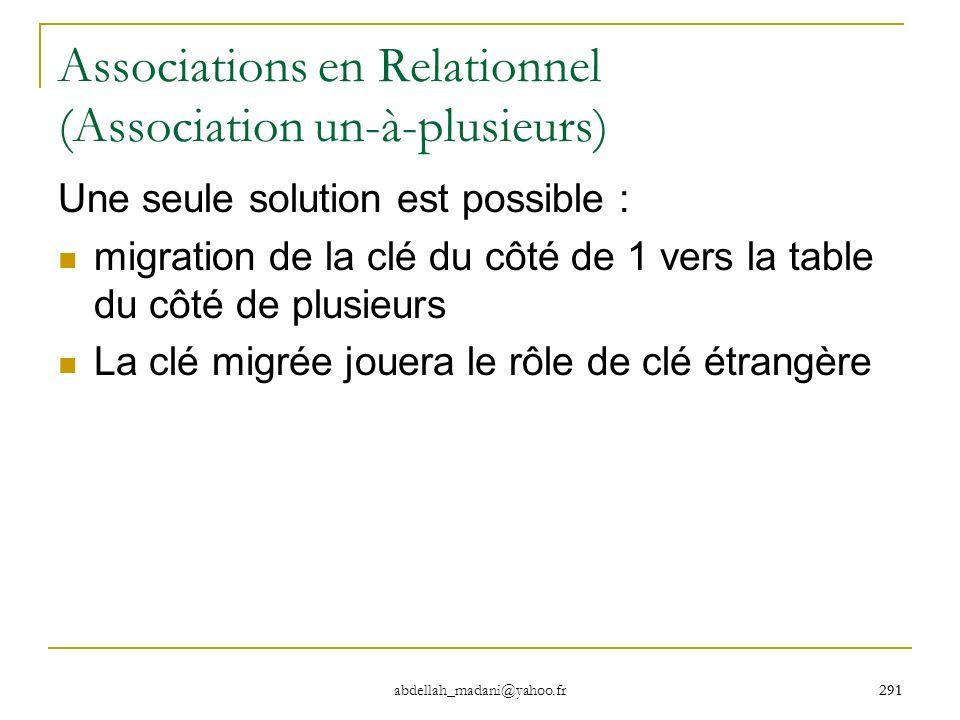 291 abdellah_madani@yahoo.fr 291 Associations en Relationnel (Association un-à-plusieurs) Une seule solution est possible : migration de la clé du côt