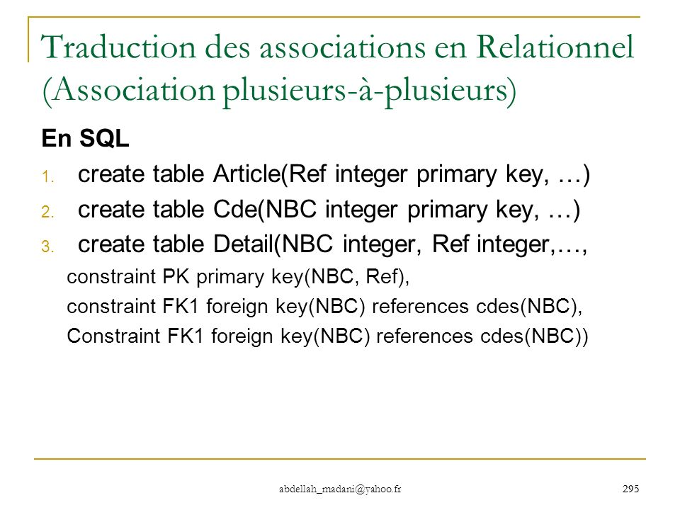 295 abdellah_madani@yahoo.fr 295 Traduction des associations en Relationnel (Association plusieurs-à-plusieurs) En SQL 1. create table Article(Ref int