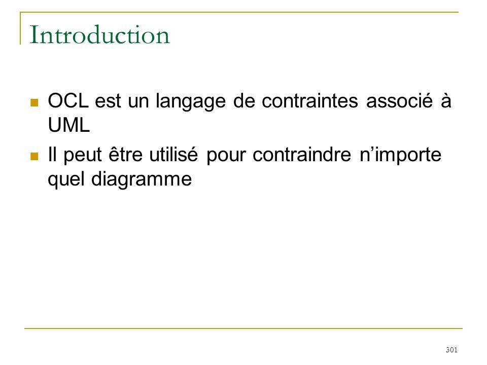 301 Introduction OCL est un langage de contraintes associé à UML Il peut être utilisé pour contraindre nimporte quel diagramme
