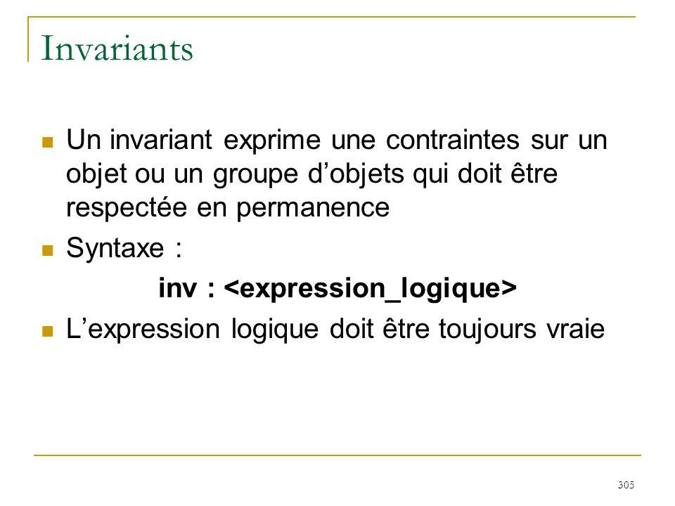 305 Invariants Un invariant exprime une contraintes sur un objet ou un groupe dobjets qui doit être respectée en permanence Syntaxe : inv : Lexpressio