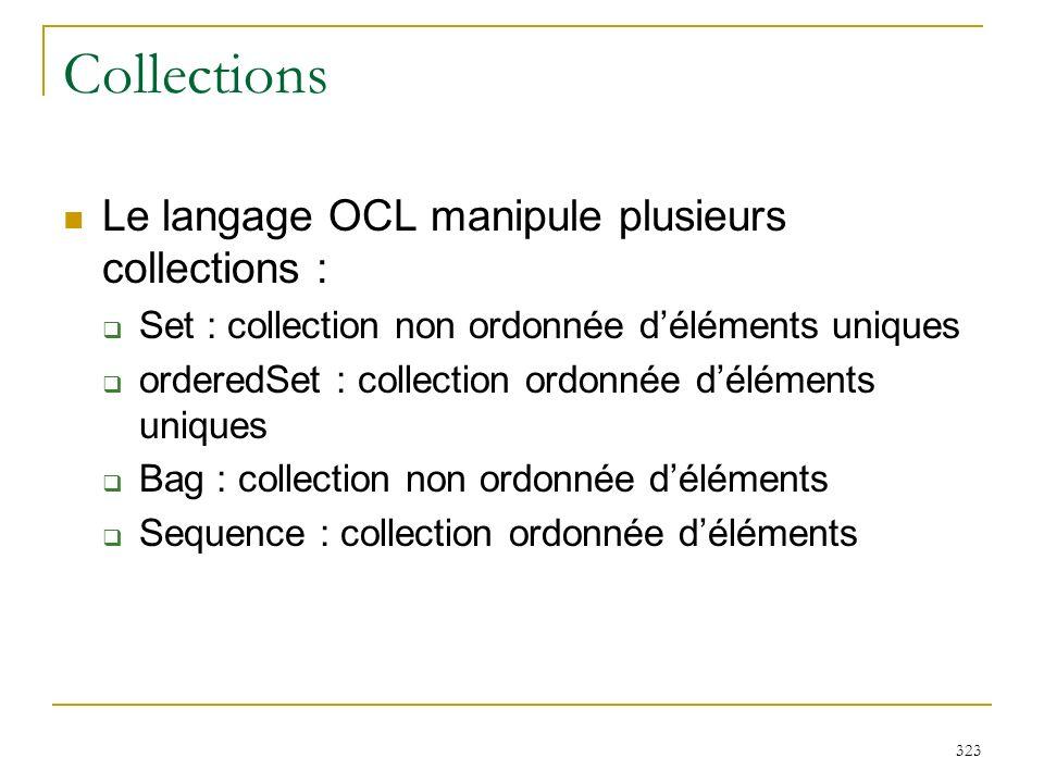 323 Collections Le langage OCL manipule plusieurs collections : Set : collection non ordonnée déléments uniques orderedSet : collection ordonnée délém