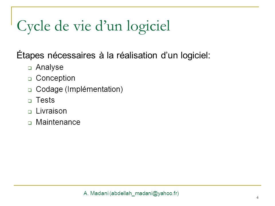 4 Cycle de vie dun logiciel A. Madani (abdellah_madani@yahoo.fr) 4 Étapes nécessaires à la réalisation dun logiciel: Analyse Conception Codage (Implém