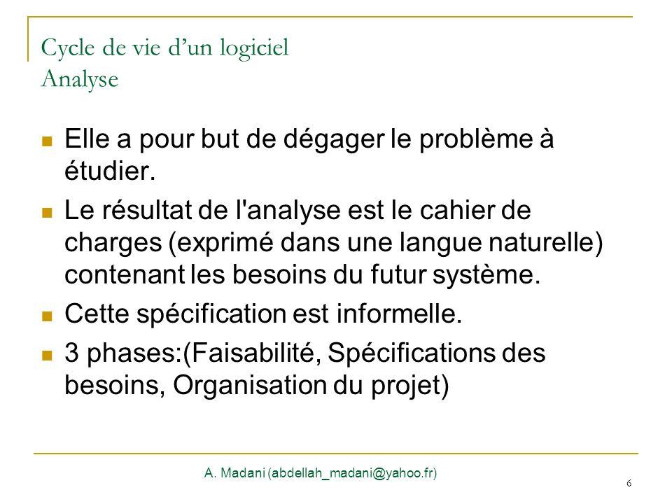 6 Cycle de vie dun logiciel Analyse Elle a pour but de dégager le problème à étudier. Le résultat de l'analyse est le cahier de charges (exprimé dans