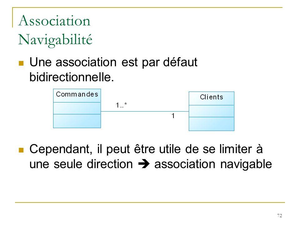 72 Association Navigabilité Une association est par défaut bidirectionnelle. Cependant, il peut être utile de se limiter à une seule direction associa