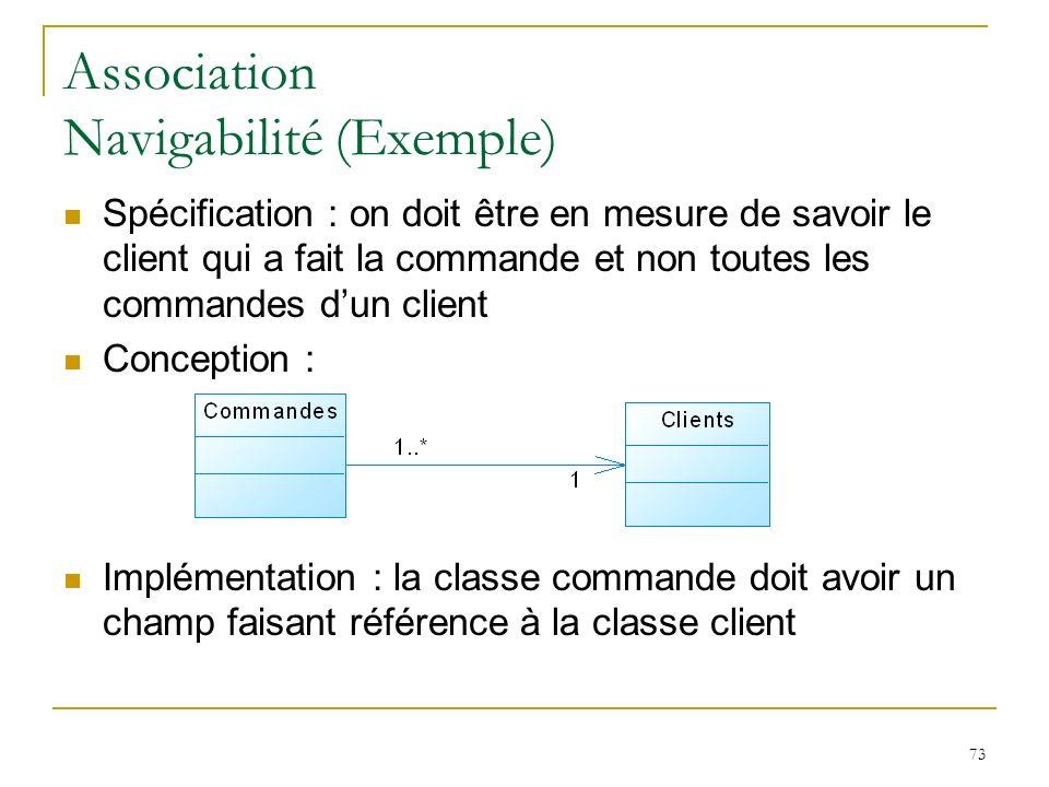 73 Association Navigabilité (Exemple) Spécification : on doit être en mesure de savoir le client qui a fait la commande et non toutes les commandes du