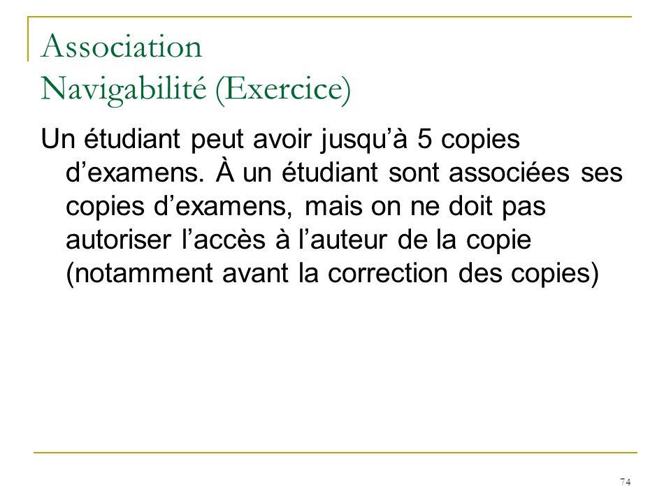 74 Association Navigabilité (Exercice) Un étudiant peut avoir jusquà 5 copies dexamens. À un étudiant sont associées ses copies dexamens, mais on ne d