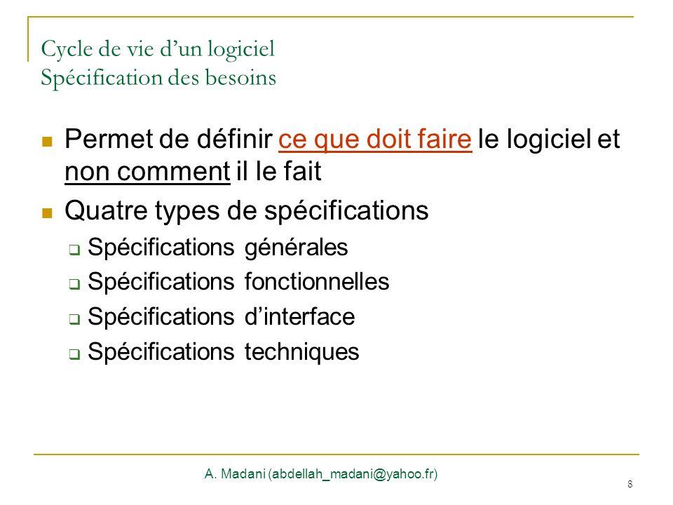 8 Cycle de vie dun logiciel Spécification des besoins A. Madani (abdellah_madani@yahoo.fr) 8 Permet de définir ce que doit faire le logiciel et non co